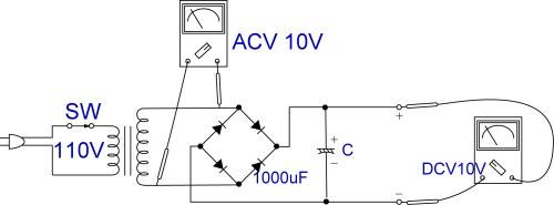 加上滤波电容器的桥式全波整流电路图