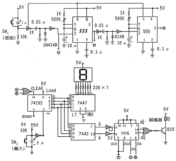 应用电路一:电子骰子